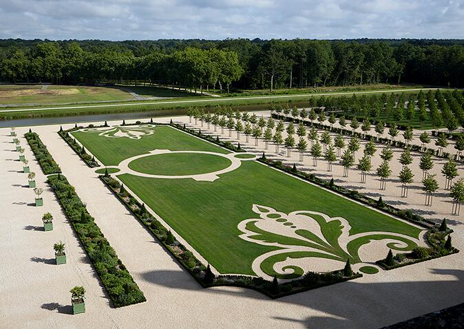 Jardim do Castelo Chambord no Vale do Loire na França