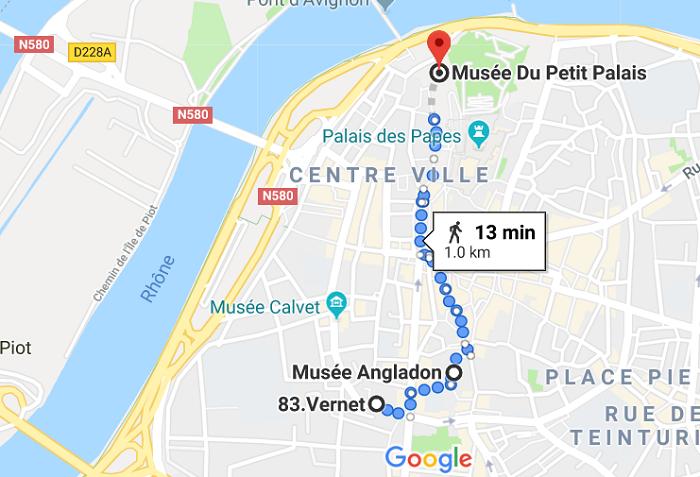 Mapa do segundo dia em Avignon