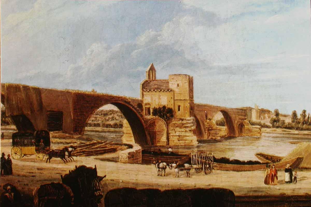 Foto antiga da Ponte Saint-Bénézet em Avignon