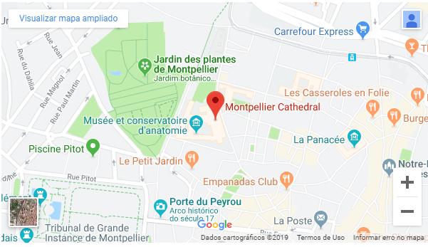 Mapa da Catedral de Montpellier