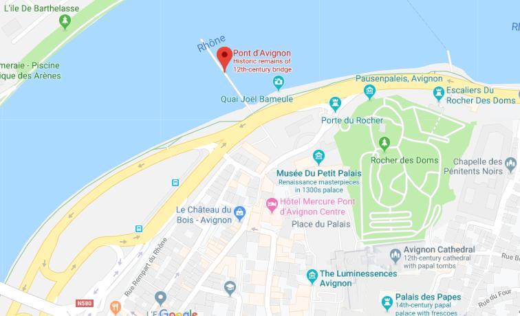 Mapa da Ponte de Avignon