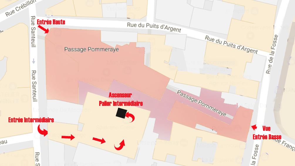 Mapa das entradas da Passage Pommeraye