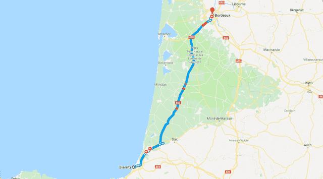 Mapa roteiro de carro na França - Biarritz a Bordéus