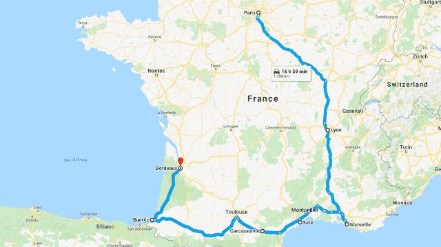 Mapa do roteiro de carro pela França