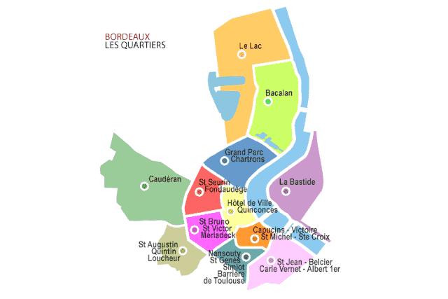 Mapa dos bairros de Bordéus