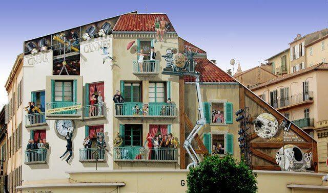 Pinturas Les Murs Peints nos prédios de Cannes