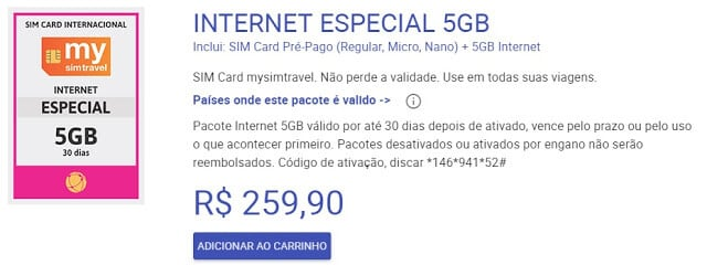 Plano de Internet do Chip mysimtravel para Europa