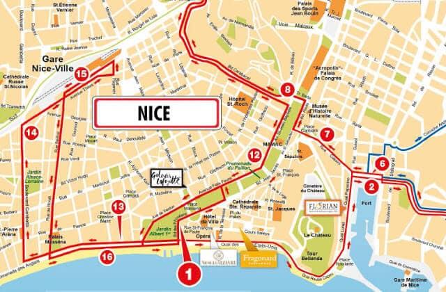 Mapa do passeio de ônibus turístico em Nice