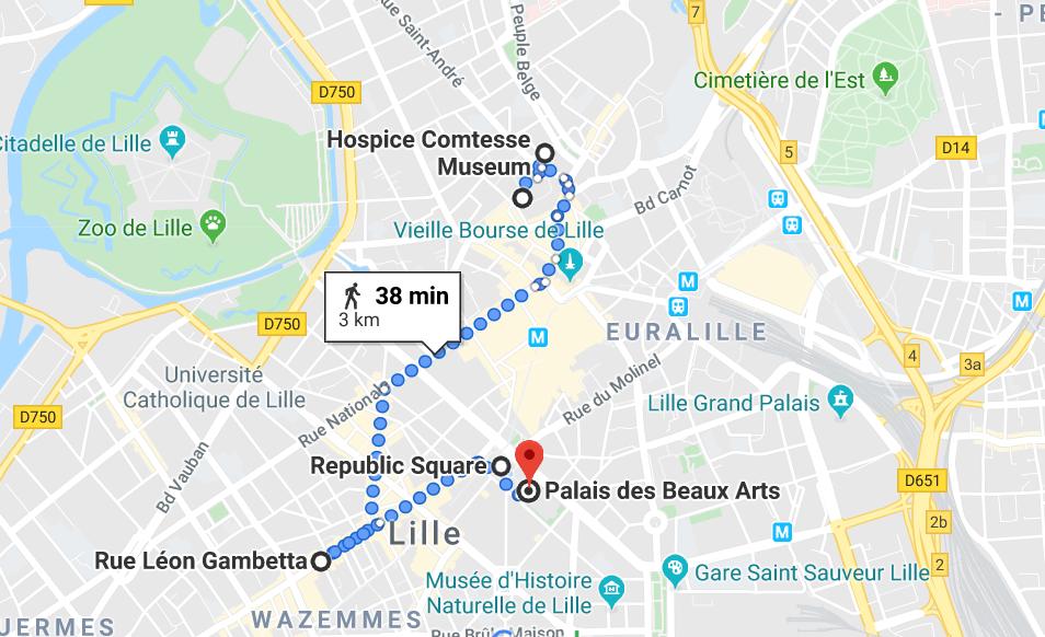 Mapa do roteiro de um dia em Lille